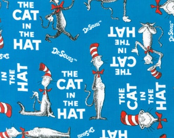 Robert Kaufman Celebration Dr. Seuss The Cat in the Hat All Over Fabric - 1 yard