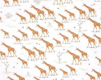 Quilting Treasures Heads Up Giraffes White fabric - 1 yard
