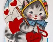 Vintage 1950s Valentine Kitten with Umbrella greeting Card!