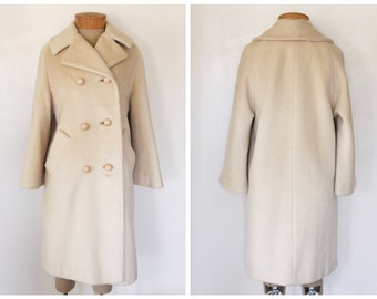 Vintage 1950s/1960s Beige/Camel Wool Long Coat with Rhinestone Buttons Size Medium/Large