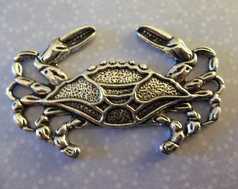 Large Silver Crab Pendant - 50mm x 33mm - Qty 2
