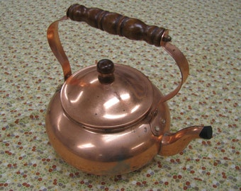 Copper finished aluminum teapot