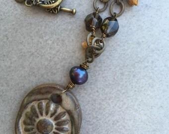 Desert Sun Wire Wrapped Ceramic Pendant with czech Glass, Smoky Quartz, Pearl on Bronze Chain