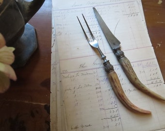 horn handle fork and knife