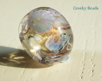 "Handmade Large holed lampwork bead ""Lilac Seas"" Creeky Beads SRA"