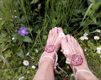 Hippy Barefoot sandals boho anklets Bohemian Accessories crochet Nude shoes Bordeaux Yoga anklets  Beach Wedding