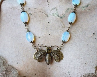VALENTINES DAY SALE Moonlit Bee // Opalite and Brass Bee Pendant Necklace, Faceted Oval Opalite Gemstones, Antiqued Brass // Nature Boho Ret