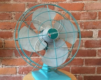 Retro Mint Blue Steel Dominion Fan // in working condition! // minimal scratches to paint // home decor