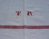 Vintage Red Stripe Table Cloth. Monogrammed TR . Rustic Hungarian Linens.  Medium. Excellent Condition