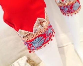 Scarlet Chiffon Crop Pants with Exquisite Sequined Trim