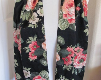 "Beautiful Black Floral Soft Silky Poly Scarf  // 11"" x 52"" Long"