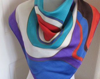 """Fisba Stoffels // Vintage Colorful Soft Silk Scarf  // 32"""" Inch 78cm Square // Best of the Best"""
