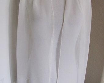 "Beautiful Solid White Soft Chiffon Silk Scarf - 10"" x 58"" Long // Monogrammed JR"