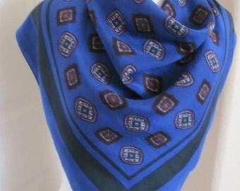 "Scarf Beautiful Blue Soft Silk Scarf // 30"" Inch 76cm Square"