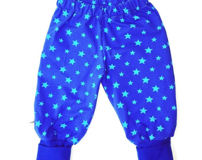 Baby boys pants, blue pants, boys outfit, soft pants, turquoise stars, size NB - 24 m