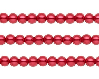 Round Glass Pearls Beads Red  12mm 16 Inch Strand