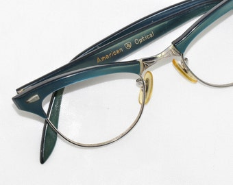 American Optical Vintage Browline Glasses, Blue Brows, 1950s, 1960s