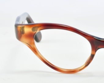 Vintage Cat Eye Glasses, Tortoise Wrap Around Style, NOS, 1950s, 1960s