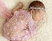 Pink Lace Wrap and Headband, Wrap Set, Fringe Lace Wrap, Baby Headband, Newborn Photo Prop, Baby Girl Prop