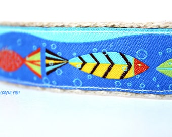 Colorful Fish Dog Collar, Dog Collar, Dog Collar, Adjustable Dog Collar, Pet Accessory, Ocean Dog Collar