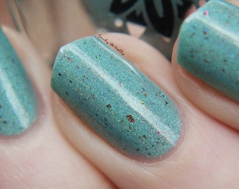 "Nail polish - ""Fact Sheet"" Light mint linear holographic polish with flakes"