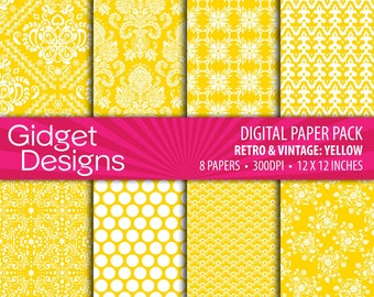 Yellow Digital Paper Pack Damask Patterns Yellow and White Scrapbook Paper Summer Digital Printable Instant Download