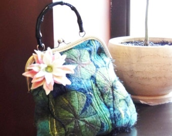 Nuno Felted handle bag  Water lily with bronze bag frame metal closure, Pouch, Clutch, handmade, OOAK, Wet Felted Ready to Ship