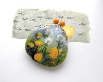 Wet Felted dandelions FLOWER coin purse Ready to Ship with bag frame metal closure gift for her