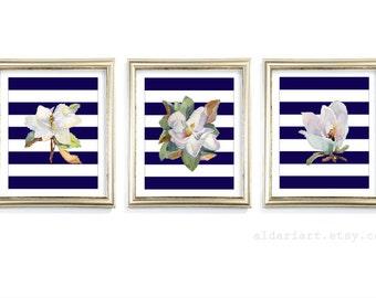 Magnolia Art Prints - Magnolia Wall Art - Watercolor Magnolia Flowers Prints - Set of 3 - Modern Home Decor - Navy Stripes Art - Aldari Art