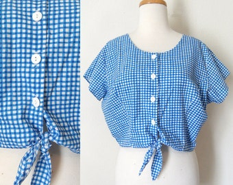80s Blue Checkered Cotton Button Down Crop Top with Short Sleeves Hipster Pinup Country Western size XL
