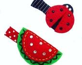 Ladybug and Watermelon felt hair clips - girls hair clip -  no slip grip available - ready to ship