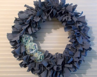 Blue Americana Primitive Country Fabric Rag Wreath Shabby Chic Handmade USA  FREE SHIPPING!!!