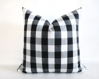 Pillow Cover Buffalo Check Woven Plaid Black White Grey Both Sides Zipper