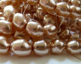 Vintage Champagne Glass Pearls - 13x11mm - Oval Baroque - Czech Coated Glass - Qty 30 pcs  (bgtb01)
