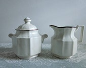 Vintage  Kensington Ironstone Cream and Sugar Set, England - Covered Sugar and Cream Pitcher, Linen with Brown Accent - Cottage Collectable
