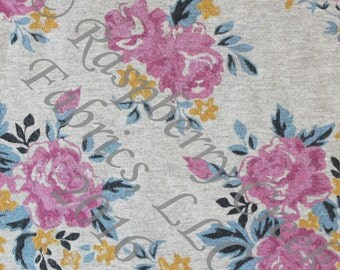 Magenta Blue and Mustard Heathered Grey Floral 4 Way Stretch Jersey Knit Fabric, Club Fabrics