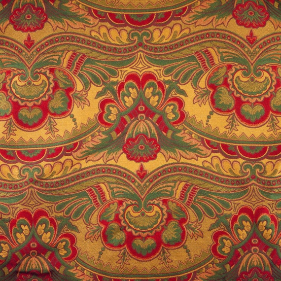 1 yard brocade red green gold paisley home decor or