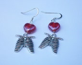 RESERVED FOR KARLA - Zombie Apocalypse - Heart and Ribcage Earrings