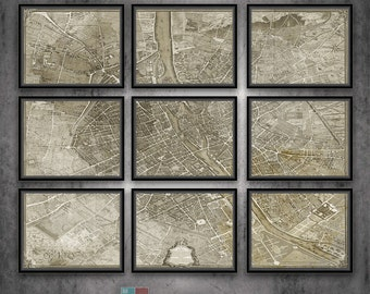 """Vintage 1739 Paris Map by Etienne Turgot - 9 Panel reproduction on archival matte paper - 69""""x54"""""""