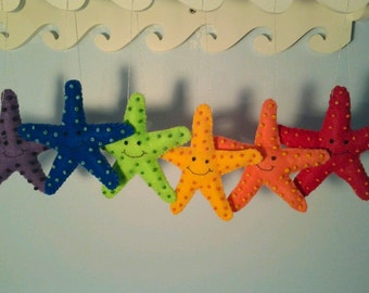 Happy Little Starfish Cute Felt Ornament Nursery Decor