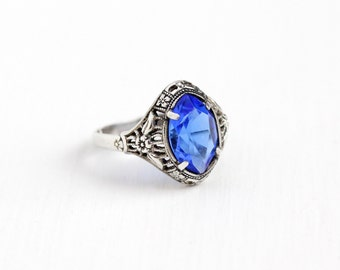 Vintage Art Deco Sterling Silver Simulated Sapphire Ring - 1930s Adjustable Marquise Dark Blue Glass Stone Filigree Statement Flower Jewelry