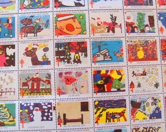 Season's Greetings 60 Vintage Christmas Seals Full Sheet Holiday Stamps Contemporary Abstract Traditional 1979 American Lung Association