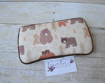 Brown Bear Travel Baby Wipe Case, Personalized Diaper Wipe Case, Baby Shower Gift, Diaper Bag Wipe Clutch, Monogrammed, Woodland Wipe Holder