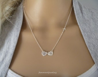 Silver Sideways Cross Necklace - Initial Necklace - Two Initial Heart Disc - One or More Heart - Personalized - Faith Charm - Mommy Necklace