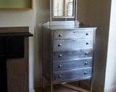 Vintage Metal Dresser with Tilting Mirror / 5 Drawer Dresser / Legs on Steel Casters / Raw Steel Metal Finish