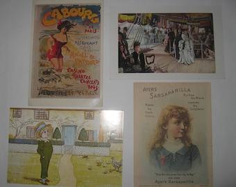 4 Vintage Post Cards Art Impressionist Never Mailed Art
