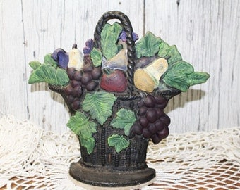Vintage Cast Iron Door Stop, Fruit Basket Doorstop, Antique Iron Doorstop