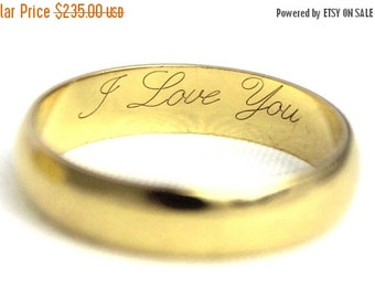 XMAS SALE Vintage Ladies Wedding Band Ring 'I Love You' Yellow Gold 18ct 18ct 18kt 750 | Free Shipping | Size L / 5.75