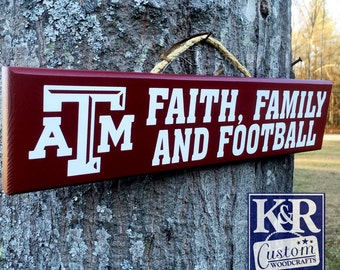 "Texas A & M ""Aggie"" Family painted Wood Decor sign art"