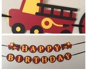 FireTruck Happy Birthday Banner Ready to ship fire truck birthday party decorations